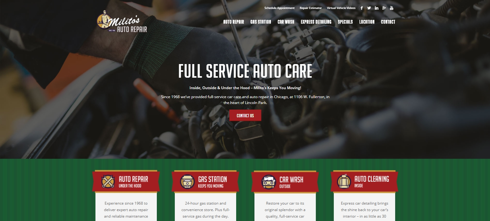 Militos Auto Repair Website - MoxieMenInc.com