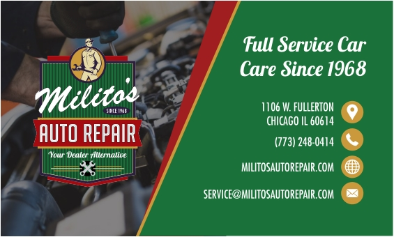 Milito's Auto Repair Business Card Designed by MoxieMen, Inc.