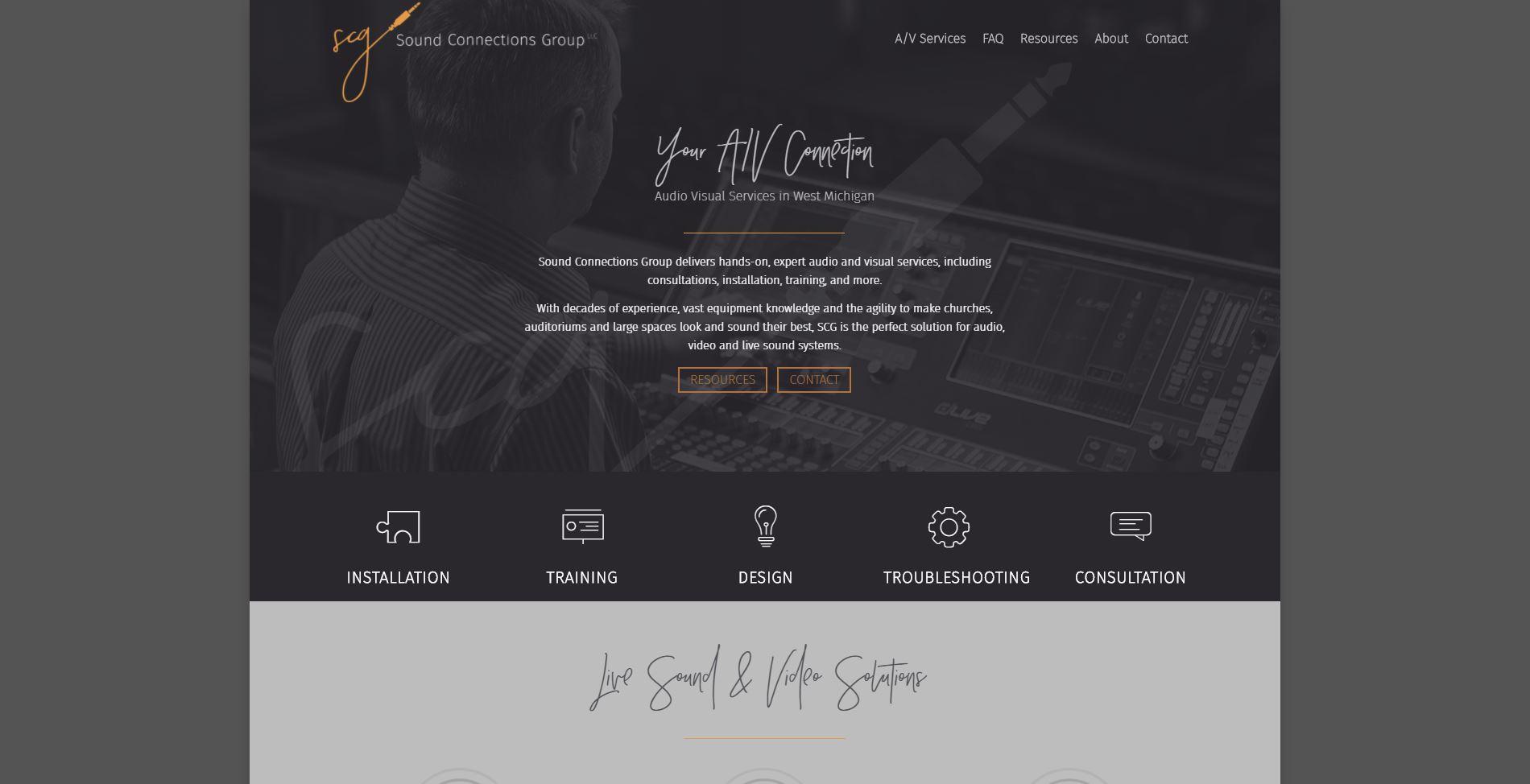 Sound Connections Group Website built by MoxieMen, Inc - Moxiemeninc.com