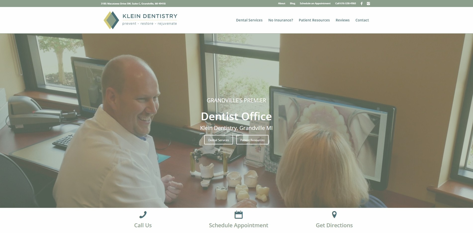 Klein Dentistry, Website Design and Digital Marketing by MoxieMen, Inc., a marketing agency in Grand Rapids MI - MoxieMenInc.com